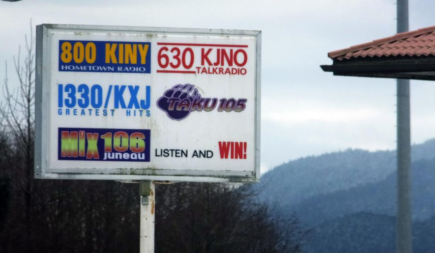 The Federal Communications Commission recently approved a request by Australians Richard and Sharon Burns to increase their interest in a number of radio stations, including those that broadcast from this site shown in Juneau, Alaska, Sunday, March 19, 2017, to a full 100 percent. It's the first time the agency has permitted this and comes after the agency clarified rules that some broadcasters viewed as too severely restricting outside investment. (AP Photo/Becky Bohrer)