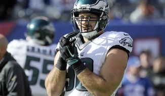 FILE - In this Nov. 6, 2016, file photo, Philadelphia Eagles defensive end Connor Barwin prepares to play against the New York Giants in an NFL football game in East Rutherford, N.J. Barwin is eager for a fresh start on the West Coast after signing a one-year deal with the Los Angeles Rams last week. He will be reunited with Wade Phillips, his defensive coordinator for two years with the Houston Texans. (AP Photo/Bill Kostroun, File)