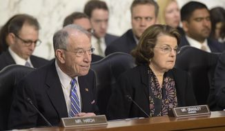 """Senate Judiciary Committee Chairman Sen. Charles Grassley, Iowa Republican, says that Senate Democrats don't currently have any leverage.  """"I don't think they're in a position to make a deal,"""" Mr. Grassley said. (AP Photo/Susan Walsh)"""