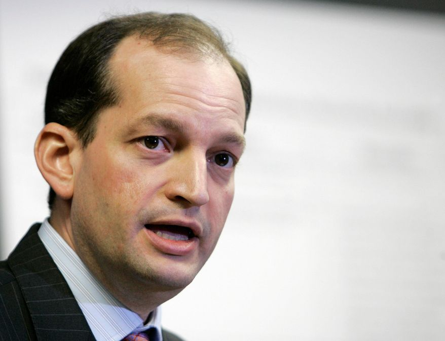 FILE - In this Jan. 16, 2008 file photo, R. Alexander Acosta talks to reporters during a news conference in Miami. Labor Secretary nominee Acosta is facing questions Wednesday, March 22, 2017, about how, exactly, he would back up American workers when his record, even at the agency, provides few clues.  (AP Photo/Alan Diaz, File)