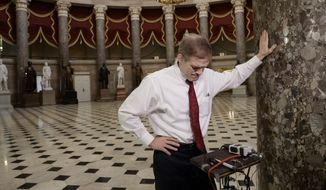"Rep. Jim Jordan, R-Ohio, a key member and founder of the conservative Freedom Caucus, arrives for a TV interview on Capitol Hill in Washington, Thursday, March 23, 2017, as the GOP's long-promised legislation to repeal and replace ""Obamacare"" comes to a showdown vote. (AP Photo/J. Scott Applewhite)"