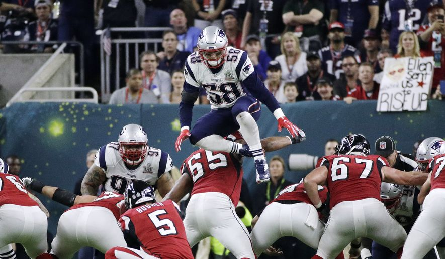 2bb97dae 5, 2017, file photo, New England Patriots' Shea McClellin (58) leaps over  the line of scrimmage in an attempt to block a kick during the first half  ...