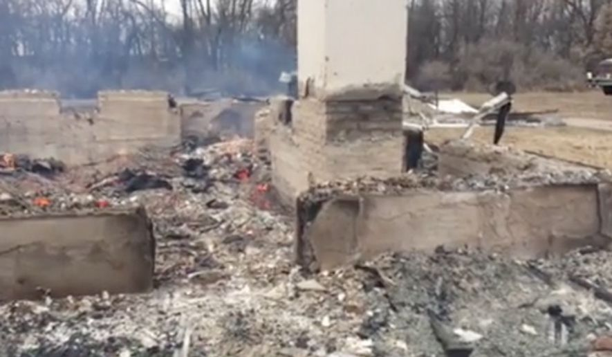 A 108-year-old church recently bought by notorious white supremacist Craig Cobb was burned to the ground Wednesday in Nome, North Dakota. (WDAY)