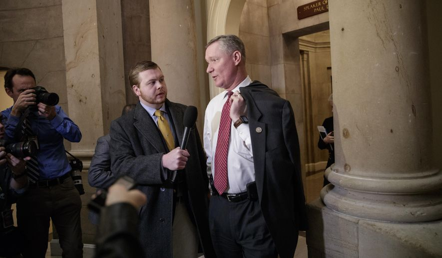 Rep. Steve Stivers, R-Ohio, talks to a reporters as he leaves the office of House Speaker Paul Ryan on Capitol Hill in Washington, Thursday, March 23, 2017. (AP Photo/J. Scott Applewhite) ** FILE **