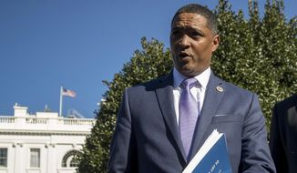 Rep. Cedric Richmond, D-La., the chairman of the Congressional Black Caucus, speaks to members of the media at the White House in Washington, in this March 22, 2017, photo. (AP Photo/Andrew Harnik) ** FILE **