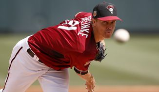 Arizona Diamondbacks' Zack Greinke warms up prior to a spring training baseball game against the Chicago Cubs, Thursday, March 23, 2017, in Scottsdale, Ariz. (AP Photo/Ross D. Franklin)