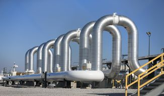 In this Nov. 3, 2015, file photo, the Keystone Steele City pumping station, into which the planned Keystone XL pipeline is to connect to, is seen in Steele City, Neb. (AP Photo/Nati Harnik, File)