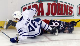 Toronto Maple Leafs defenseman Roman Polak, left, of the Czech Republic, checks Columbus Blue Jackets forward Oliver Bjorkstrand, of Denmark, during the third period of an NHL hockey game in Columbus, Ohio, Wednesday, March 22, 2017. Polak was called for boarding and a game misconduct. The Maple Leafs won 5-2. (AP Photo/Paul Vernon)