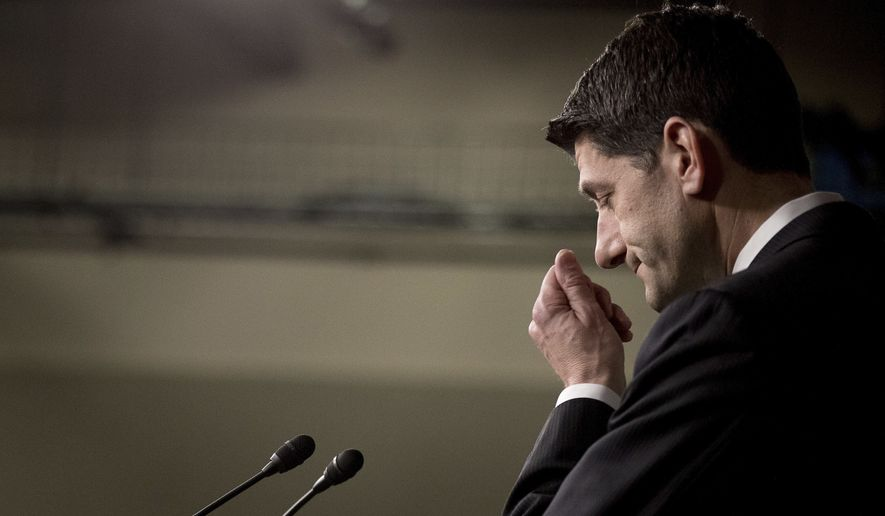 House Speaker Paul Ryan of Wis. pauses during a news conference on Capitol Hill in Washington, Friday, March 24, 2017. Republican leaders have abruptly pulled their troubled health care overhaul bill off the House floor, short of votes and eager to avoid a humiliating defeat for President Donald Trump and GOP leaders.(AP Photo/Andrew Harnik)
