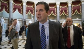 House Intelligence Committee Chairman Rep. Devin Nunes, R-Calif. walks through Statuary Hall on Capitol Hill in Washington, Friday, March 24, 2017. Nunes said Friday that Paul Manafort, the former campaign chairman for President Donald Trump, volunteered to be interviewed by committee members. (AP Photo/Andrew Harnik) ** FILE **