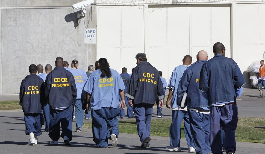 FILE - In this Feb. 26, 2013, file photo, inmates walk through the exercise yard at California State Prison Sacramento, near Folsom, Calif.  California corrections officials say they are adopting new sentencing rules that aim to trim the state prison population by nearly 9,500 inmates after four years. The regulations released Friday, March 24, 2017,  include steps like reducing sentences up to six months for earning a college degree and by up to a month each year for participating in self-help programs like drug counseling.  (AP Photo/Rich Pedroncelli, File) **FILE**