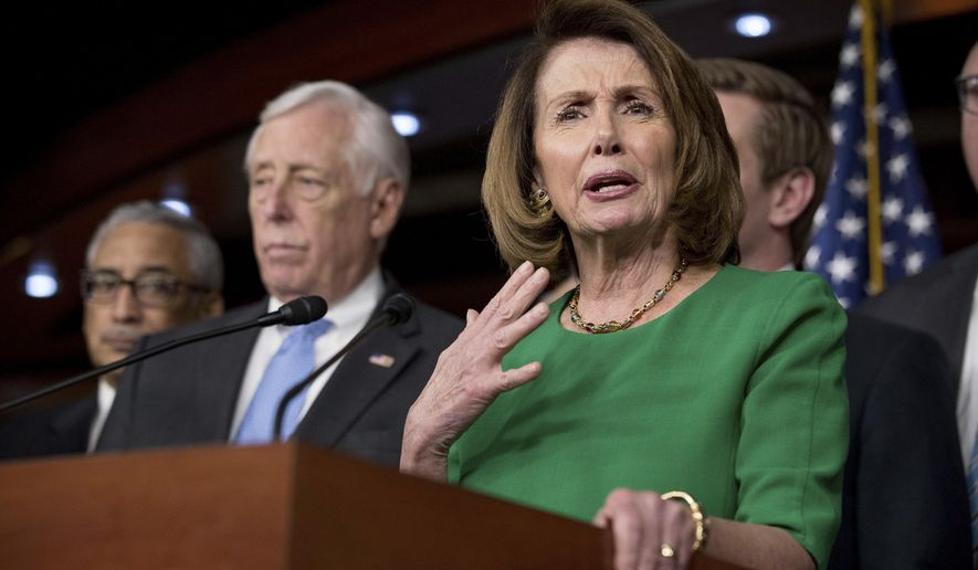 House Minority Leader Nancy Pelosi of Calif., accompanied by Democratic Whip Steny Hoyer, D-Md., second from left, Rep. Bobby Scott, D-Va., left, speaks during a news conference on Capitol Hill in Washington, Friday, March 24, 2017. Republican leaders abruptly pulled their troubled health care overhaul bill off the House floor, short of votes and eager to avoid a humiliating defeat for President Donald Trump and GOP leaders. Pelosi is mocking House Republicans for failing to repeal and replace President Barack Obama's health law. (AP Photo/Andrew Harnik)