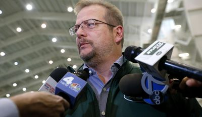 "FILE - In this Jan. 14, 2016, file photo, New York Jets general manager Mike Maccagnan speaks to reporters at the team's NFL football training center in Florham Park, N.J. Maccagnan says it is ""highly unlikely"" New York will add another veteran quarterback after signing Josh McCown earlier this week. Maccagnan adds during a conference call Friday, March 24, 2017, that any other potential additional quarterback would likely come through the draft.(AP Photo/Julio Cortez, File)"