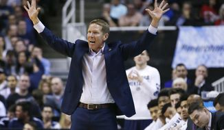 Gonzaga head coach Mark Few gestures from the bench as his team play West Virginia during the second half of an NCAA Tournament college basketball regional semifinal game Thursday, March 23, 2017, in San Jose, Calif. (AP Photo/Tony Avelar)