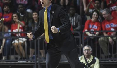 Georgia Tech head coach Josh Pastner reacts during an NCAA college basketball game in the quarterfinals of the NIT against Mississippi on Tuesday, March 21, 2017, in Oxford, Miss. (Bruce Newman/The Oxford Eagle via AP)