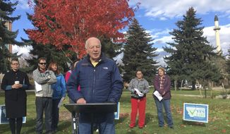 In this Oct. 19, 2016 photo, former Montana lawmaker and Fish and Wildlife Commissioner Bob Ream endorses a ballot initiative to expand the distribution of medical marijuana in Helena, Mont. Ream, a wildlife biology professor, state lawmaker and conservationist, died Wednesday, March 22, 2017, in Helena. He was 80.  (AP Photo/Matt Volz)