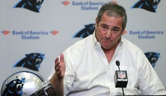 In this April 21, 2016, file photo, Carolina Panthers NFL football team general manager Dave Gettleman speaks during a news conference in Charlotte, N.C. (AP Photo/Chuck Burton, File)