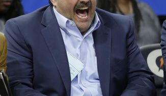 Detroit Pistons head coach Stan Van Gundy reacts as the Orlando Magic take a big lead during the fourth quarter of an NBA basketball game, Friday, March 24, 2017, in Orlando, Fla. (AP Photo/John Raoux)