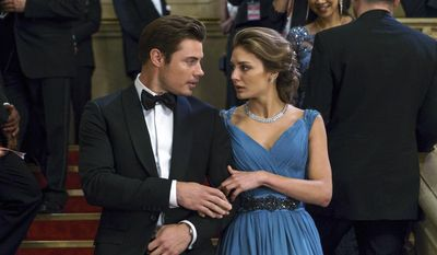 "This image released by E! Entertainment shows Josh Henderson as Kyle West, left, and Christine Evangelista as Megan Morrison in a scene from, ""The Arrangement.""  It airs Sunday nights at 10 p.m. (Daniel Power/E! Entertainment via AP)"
