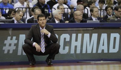 UCLA head coach Steve Alford watches play against Kentucky in the second half of an NCAA college basketball tournament South Regional semifinal game Friday, March 24, 2017, in Memphis, Tenn. (AP Photo/Mark Humphrey)