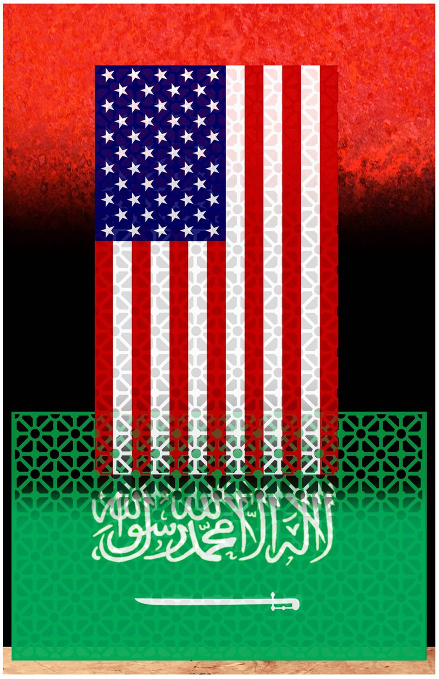 Illustration on U.S./Saudi cooperation by Alexander Hunter/The Washington Times