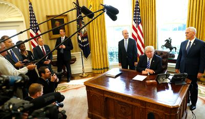 President Trump, flanked by Health and Human Services Secretary Tom Price and Vice President Mike Pence, reveals his decision to recall the American Health Care Act. (AP Photo/Pablo Martinez Monsivais)