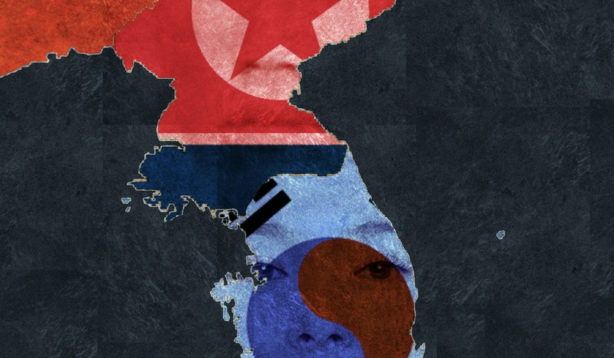 Illustration on the situation of the Korean peninsula by Alexander Hunter/The Washington Times