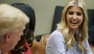 President Donald Trump, left, speaks to his daughter Ivanka Trump, right, during a meeting with women small business owners in the Roosevelt Room of the White House, in Washington, Monday, March 27, 2017. (AP Photo/Evan Vucci)