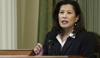 FILE - In this March 23, 2015, file photo, California Supreme Court Chief Justice Tani Cantil-Sakauye delivers her State of the Judiciary address before a joint session of the Legislature at the Capitol in Sacramento, Calif. Cantil-Sakauye emphasized the importance of maintaining the balance of power among the branches of government during her annual state of the judiciary address Monday, March 27, 2017. (AP Photo/Rich Pedroncelli, File)