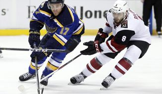 St. Louis Blues' Jaden Schwartz (17) and Arizona Coyotes' Tobias Rieder chase after a loose puck during the second period of an NHL hockey game, Monday, March 27, 2017, in St. Louis. (AP Photo/Jeff Roberson)