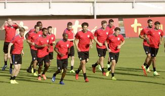 United States players warm up during a training session in Panama City, Monday, March 27, 2017. United States will face Panama for 2018 World Cup qualifying soccer match on Tuesday. (AP Photo/Arnulfo Franco)