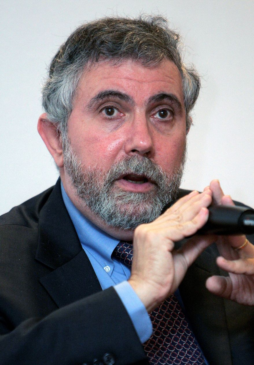 Economist Paul Krugman accuses reporters of being tougher on Democratic presidential nominee Hillary Clinton than her Republican rival, Donald Trump. (Associated Press) ** FILE **