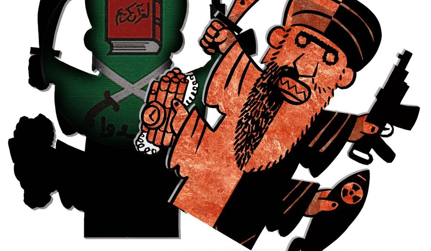 Illustration on the ideology behind Islamist terror by Alexander Hunter/The Washington Times