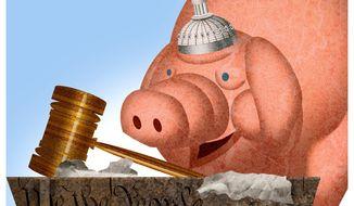 Illustration on Liberal attitudes toward the Judiciary branch by Alexandewr Hunter/The Washington Times
