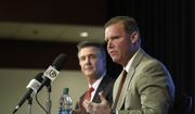 Scot McCloughan, right, speaks during an NFL football press conference where he was introduced as the Washington Redskins new general manager, Friday, Jan. 9, 2015, in Ashburn, Va. At left is Washington Redskins president Bruce Allen. (AP Photo/Nick Wass) **FILE**