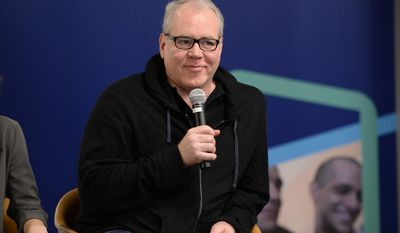 IMAGE DISTRIBUTED FOR FULLSCREEN - Screenwriter Bret Easton Ellis speaking at the Fullscreen Press Breakfast at Fullscreen offices on Monday, April 25, 2016, in New York. (Photo by Evan Agostini/Invision for fullscreen/AP Images)