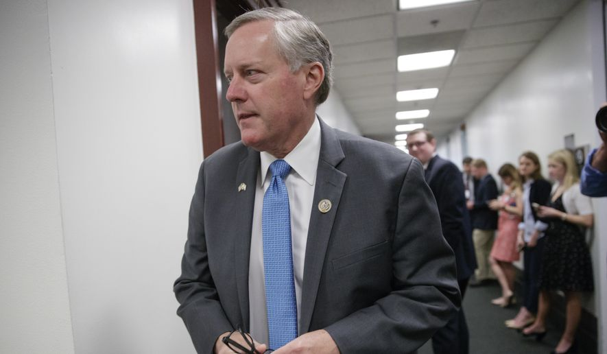 House Freedom Caucus Chairman Rep. Mark Meadows, R-N.C., at the Capitol, in Washington, Tuesday, March 28, 2017. (AP Photo/J. Scott Applewhite) ** FILE **