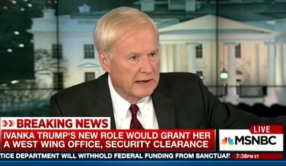 MSNBC host Chris Matthews on Monday compared Jared Kushner and Ivanka Trump's prominent roles in the White House to the power wielded by the late Saddam Hussein's two eldest sons during his reign in Iraq. (MSNBC)