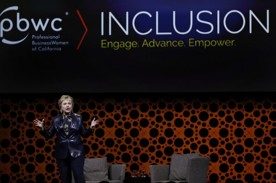 Former Secretary of State Hillary Clinton gestures while speaking before the Professional Businesswomen of California Tuesday, March 28, 2017, in San Francisco. Clinton is in San Francisco for one of her first public speeches since losing the 2016 presidential race. (AP Photo/Ben Margot)