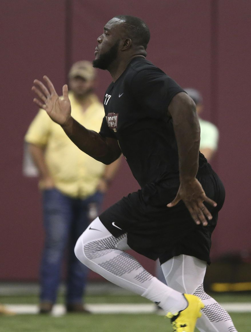 Roderick Johnson runs the forty yard dash for NFL scouts during Florida State's pro day, Tuesday, March 28, 2017, in Tallahassee, Fla. (AP Photo/Steve Cannon)
