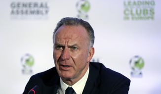 European Club Association Chairman Karl-Heinz Rummenigge speaks during a news conference in Athens, Tuesday, March 28, 2017. Representatives from 155 countries member attended the European Club Association's (ECA) 18th General Assembly in the Greek capital. (AP Photo/Thanassis Stavrakis)
