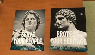 """Posters for a white nationalist group posted discovered on March 27, 2017 are shown here in this Diamondback student newspaper photo. In September 2017, similar posters promoting """"Identity Evropa"""" were found on a New Jersey college campus.  (Diamondback/Grace Capshaw) [http://www.dbknews.com/2017/03/28/umd-white-supremacist-posters/] **FILE**"""