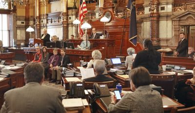The Kansas Senate made its final vote 25-14 Tuesday, March, 28, 2017, to expand KanCare, the state's Medicaid program, failing to garner enough votes to override should Gov. Sam Brownback veto the bill. (Thad Allton /The Topeka Capital-Journal via AP)