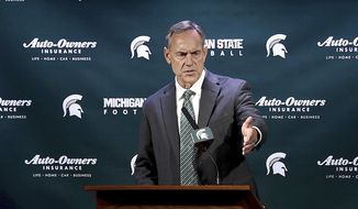 Michigan State coach Mark Dantonio speaks during an NCAA college football news conference at Spartan Stadium, Tuesday, March 28, 2017, in East Lansing, Mich. (Dale G Young/Detroit News via AP)
