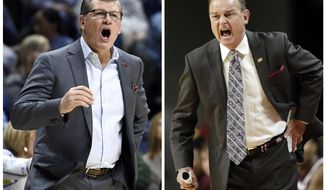 FILE  - Connecticut head coach Geno Auriemma, left, calls out to his team in this March 18, 2017, file photo, in Storrs, Conn. Mississippi State head coach Vic Schaefer, right, directs his team in this Dec. 3, 2016, file photo, in Ames, Iowa. The coaches in the women's NCAA Final Four have some interesting connections. After Mississippi State lost by 60 to UConn last March, Vic Schaefer reached out to Geno Auriemma. (AP Photo/ Jessica Hill, left, and Charlie Neibergall, right)