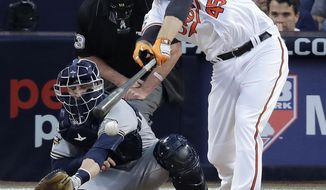 In this July 12, 2016, photo, American League's Mark Trumbo, of the Baltimore Orioles, hits during the MLB baseball All-Star Game in San Diego. Executive vice president of baseball operations Dan Duquette brought back Trumbo as a free agent during the offseason after doing the same with Chris Davis one year earlier. (AP Photo/Jae C. Hong)