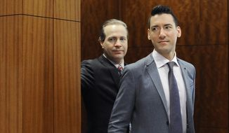 In this April 29, 2016, file photo, David Robert Daleiden, right, leaves a courtroom after a hearing in Houston. California prosecutors say two anti-abortion activists who made undercover videos of themselves trying to buy fetal tissue from Planned Parenthood have been charged with 15 felony counts of invasion of privacy. State Attorney General Xavier Becerra announced the charges Tuesday, March 28, 2017, against Daleiden and Sandra Merritt. (AP Photo/Pat Sullivan, File)