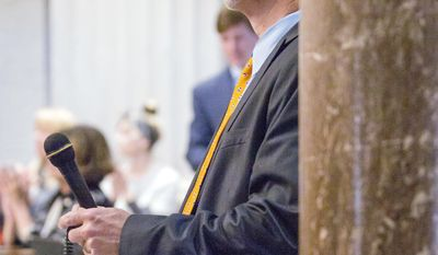 Sen. Mike Bell, R-Riceville, waits to address the state Senate in Nashville, Tenn., on Monday, March 27, 2017. Bell said he was upset that a public radio reporter from Chattanooga did not identify herself as a member of the media when she attended a meeting between the senator and high school students, but that he did not call for her to be fired. (AP Photo/Erik Schelzig)