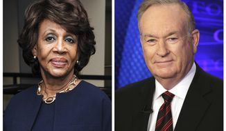 "In this combination photo, Rep. Maxine Waters, D-Calif., left, appears at the Justice on Trial Film Festival on Oct. 20, 2013, in Los Angeles and Fox News personality Bill O'Reilly appears on the set of his show, ""The O'Reilly Factor,"" on Oct. 1, 2015 in New York. O'Reilly said Tuesday, March 28, 2017, he had a hard time concentrating on Waters during a speech because he was distracted by her ""James Brown wig."" He made the comment during an appearance on ""Fox & Friends,"" after a clip was shown of Waters speaking in the House of Representatives. (AP Photos/Richard Shotwell, left, and Richard Drew)"