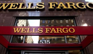 FILE - In this May 6, 2012, file photo, a Wells Fargo sign is displayed at a branch in New York. Wells Fargo said Tuesday, March 28, 2017, it will pay $110 million to settle a class-action lawsuit over up to 2 million accounts its employees opened for customers without getting their permission. (AP Photo/CX Matiash, File)